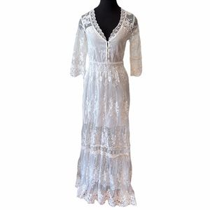 White Floral Lace Maxi Dress
